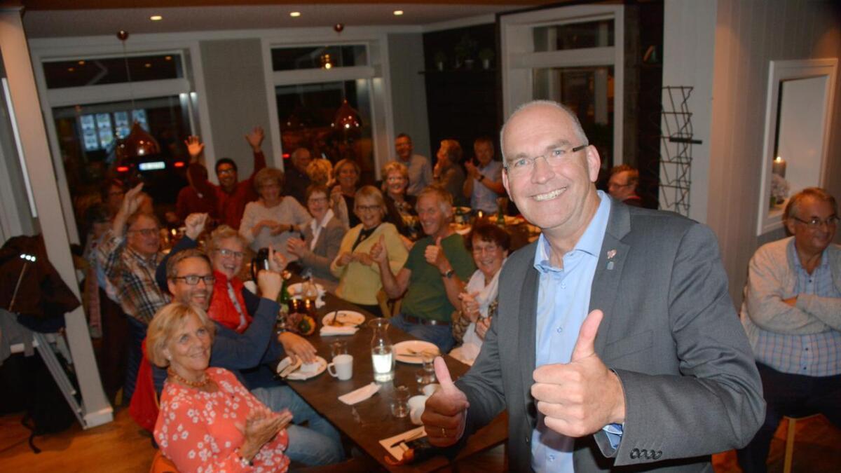 Det var god stemning og behersket glede på KrFs valgvake på Herlighed mandag kveld.