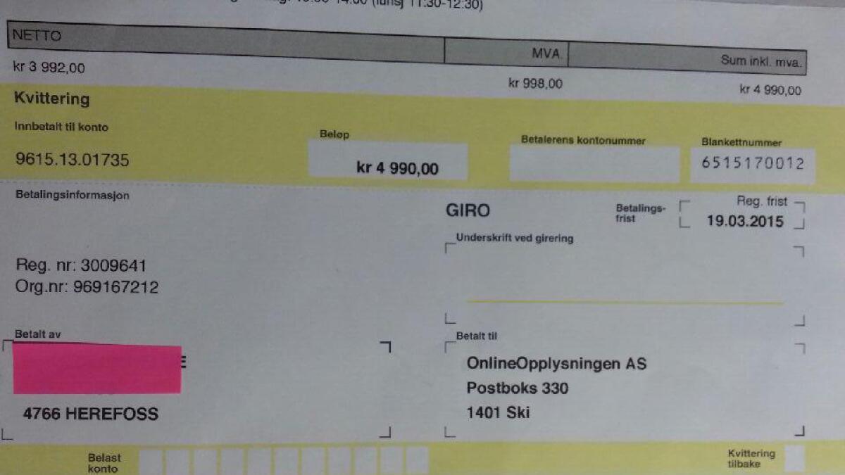 Dette er giroen på 4.990 kroner som ble sendt til Else Berit Berge.