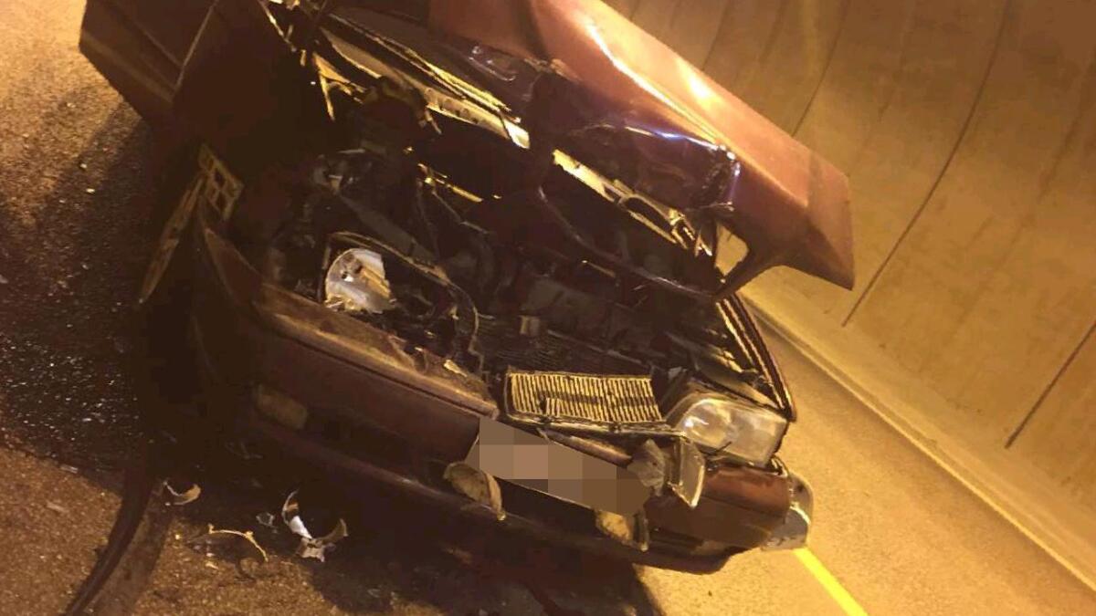 To biler kolliderte inne i Vabakkentunnelen torsdag ettermiddag.