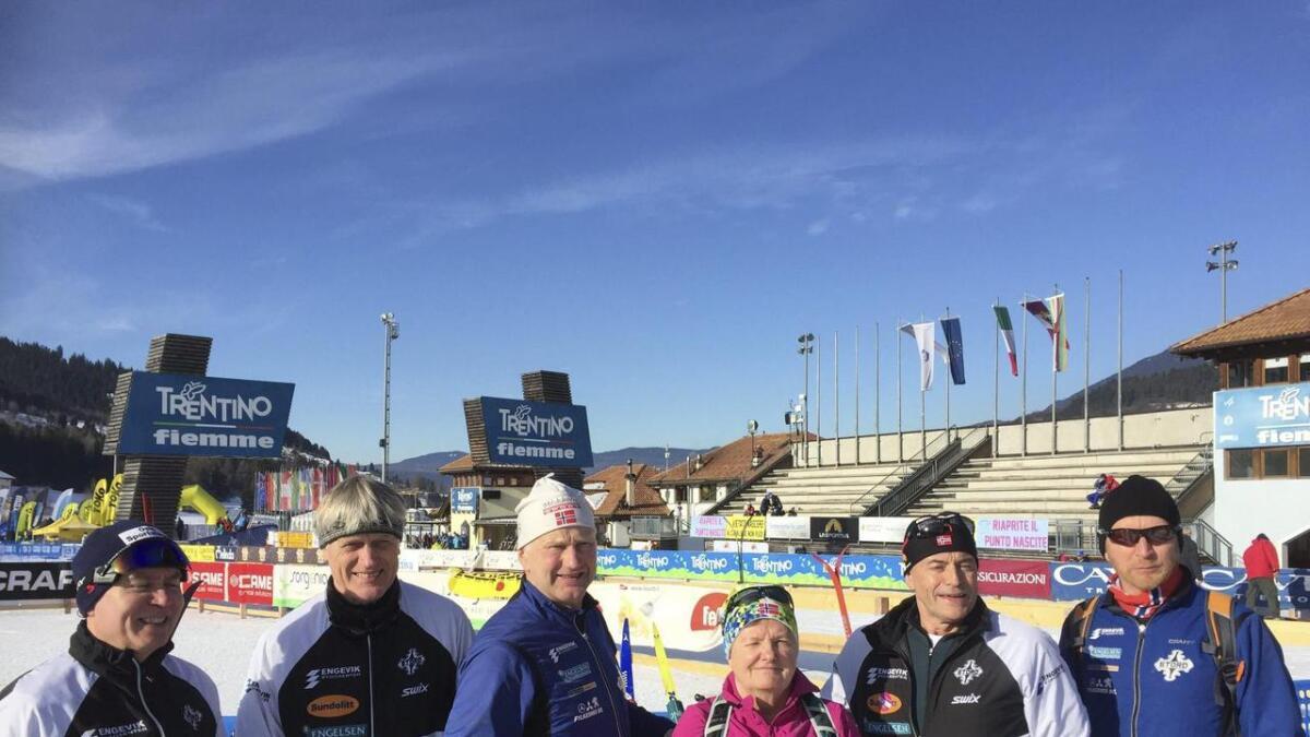 Desse storabuane fullførte Marcialonga-rennet i Italia. Kjell Magnar Helland (frå venstre), Hallgeir Matre, Magnar Hillesdal, Anne Grete Hillesdal, Bernt Øyvind Vad og Dag Kjetil Lægreid.