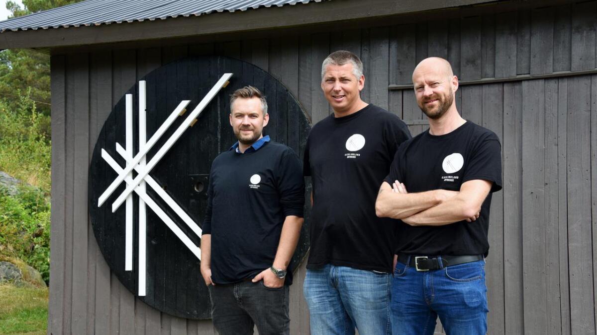 Kjerlingland brygghus satser. Ruben Myreng, Bjarte Olsen og Niklas Grønning.