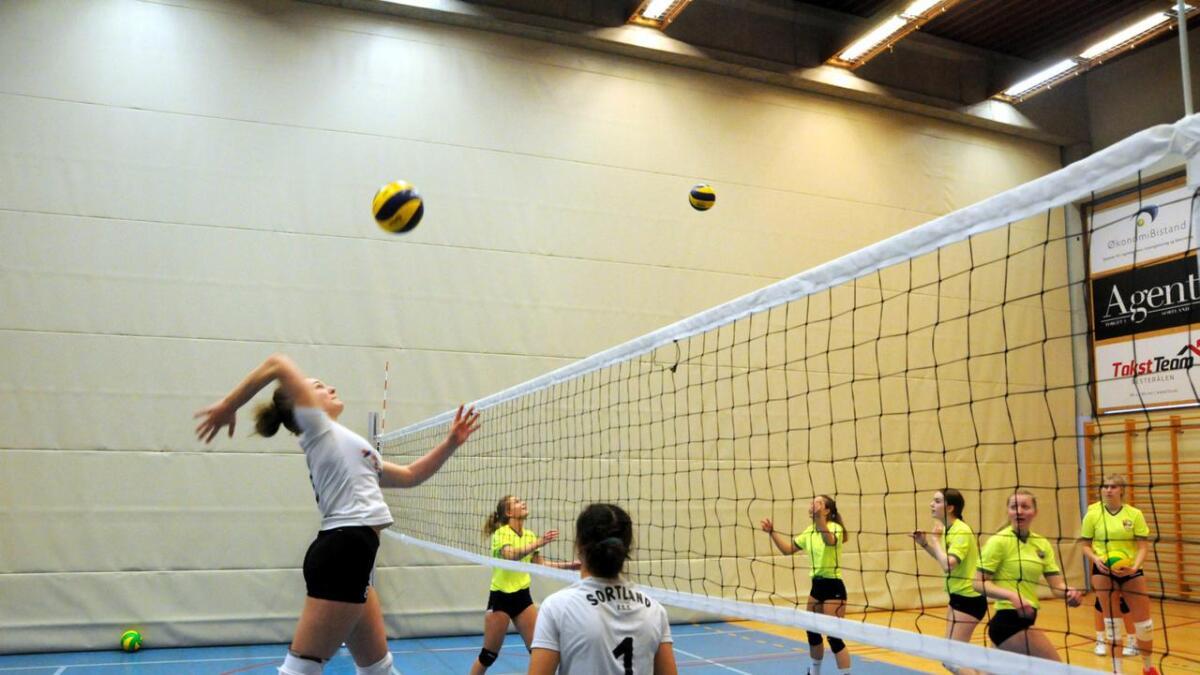 Jentelaget til Sortland videregående hevdet seg i fylkesmesterskapet i skolevolleyball. (Alle