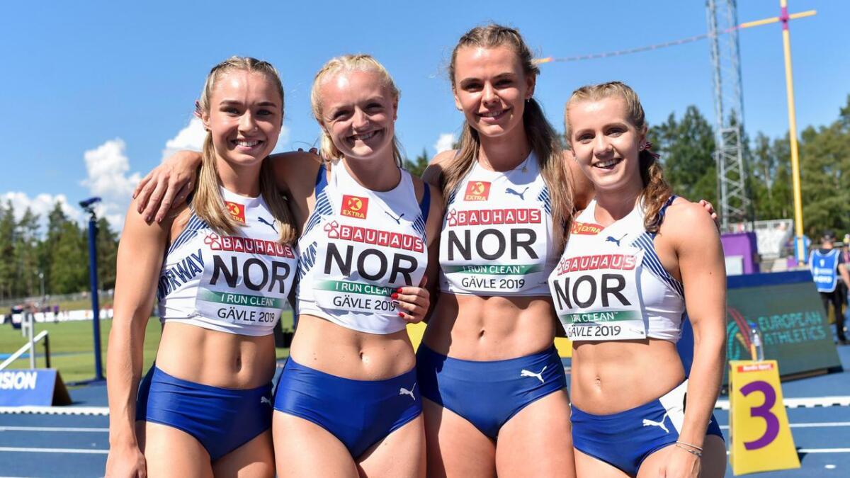 Det norske laget satte norsk rekord. F.v. Ingvild Meinseth, Marte Pettersen, Tonje Fjellet Kristiansen og Helene Rønningen.