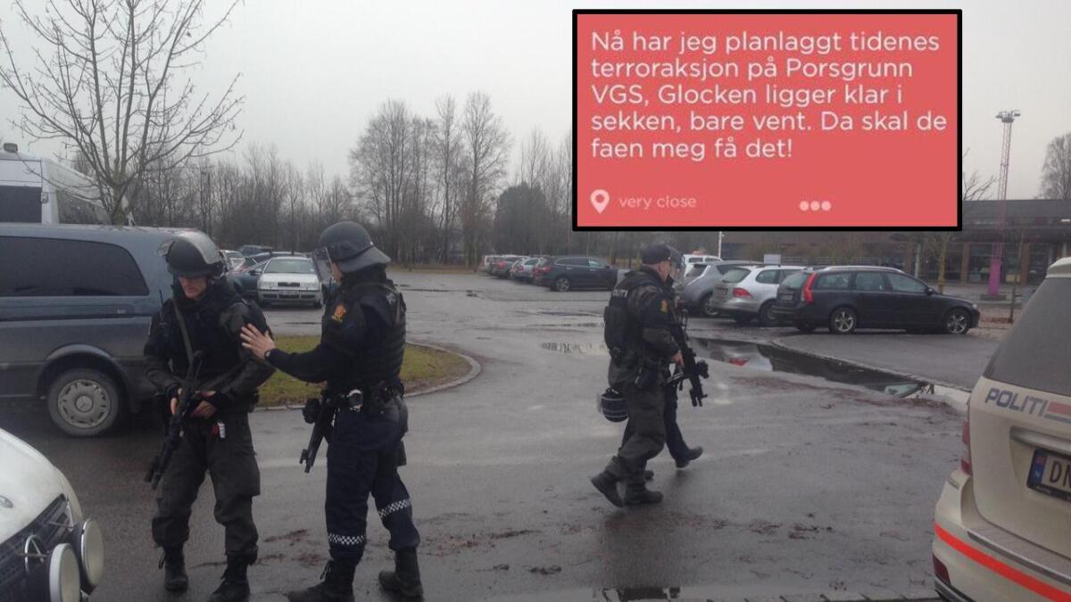 De to unge mennene kom med alvorlige trusler mot skolen.