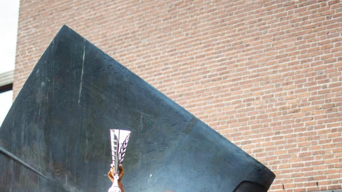 Julie Marie Fredriksen med pokaler fra helgas Sandefjord Open-stevne.