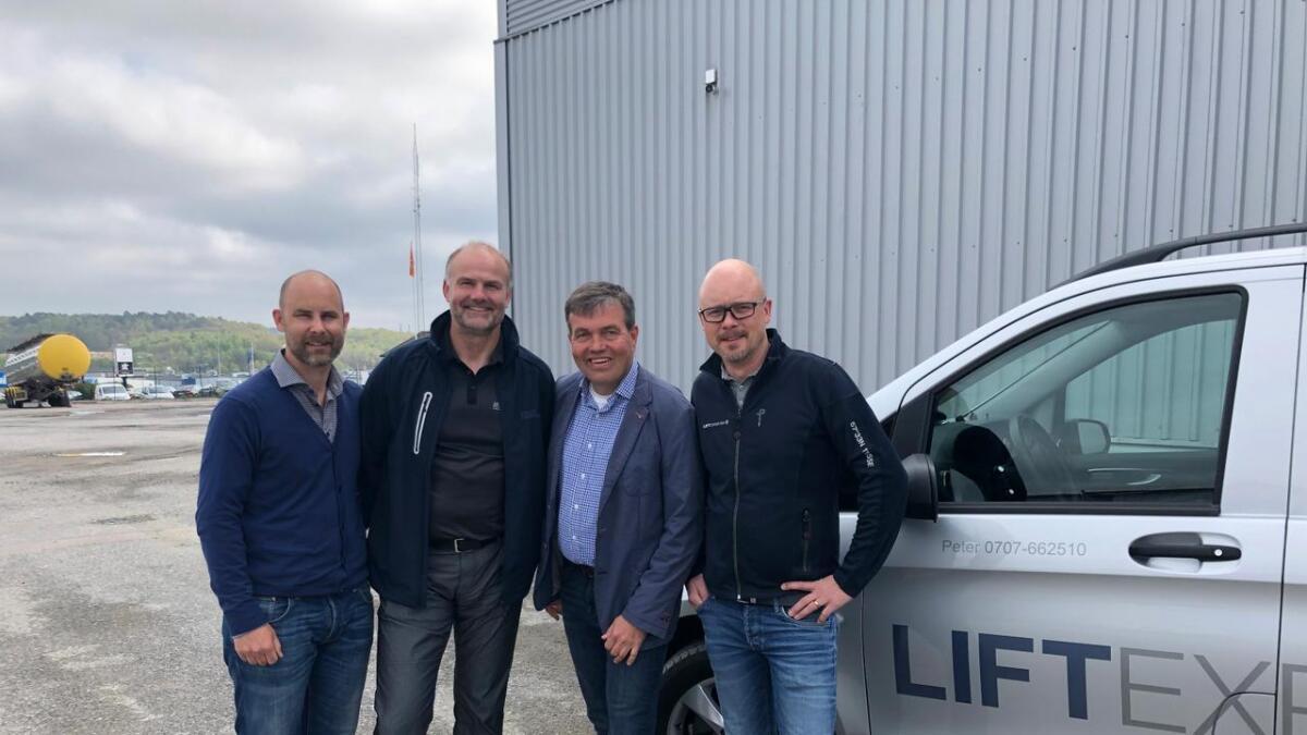 Anders Åström i Liftexperten, Espen Johannessen i Hybeko, Svein Inge Forland i Hybeko og Peter Magnusson Liftexperten.