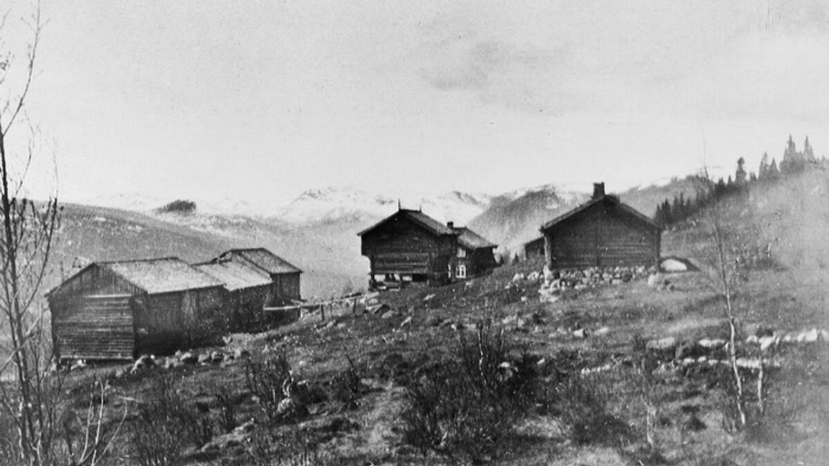 Lunda gard i Uvdal frå 1912, fotografert av dr. Johan Brun, far til Henrik.