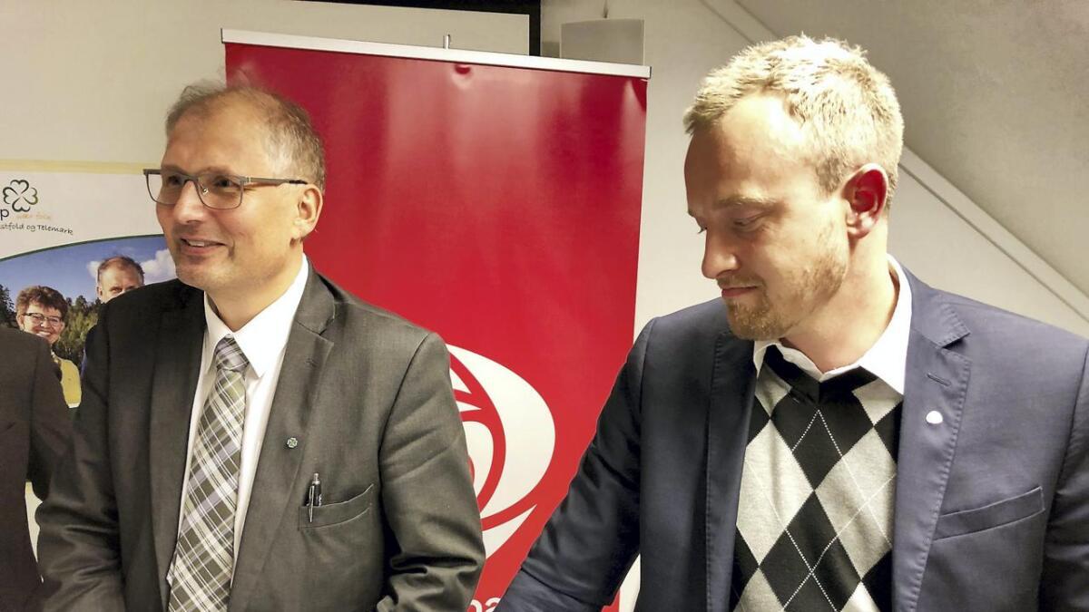 Terje Riis-Johansen (v) fra Senterpartiet tar fylkesordførervervet i det nye fylket. Sven Tore Løkslid blir vara.