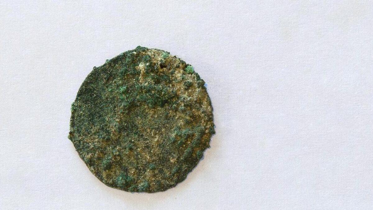 Denne penningen var blant de sytten myntene som ble funnet under de arkeologiske undersøkelsene.