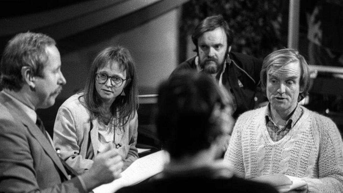 Straks klare for sending; frå venstre Tore Johannessen, Karin Julsrud, Andreas Diesen og Stein Roger Bull. 1985.