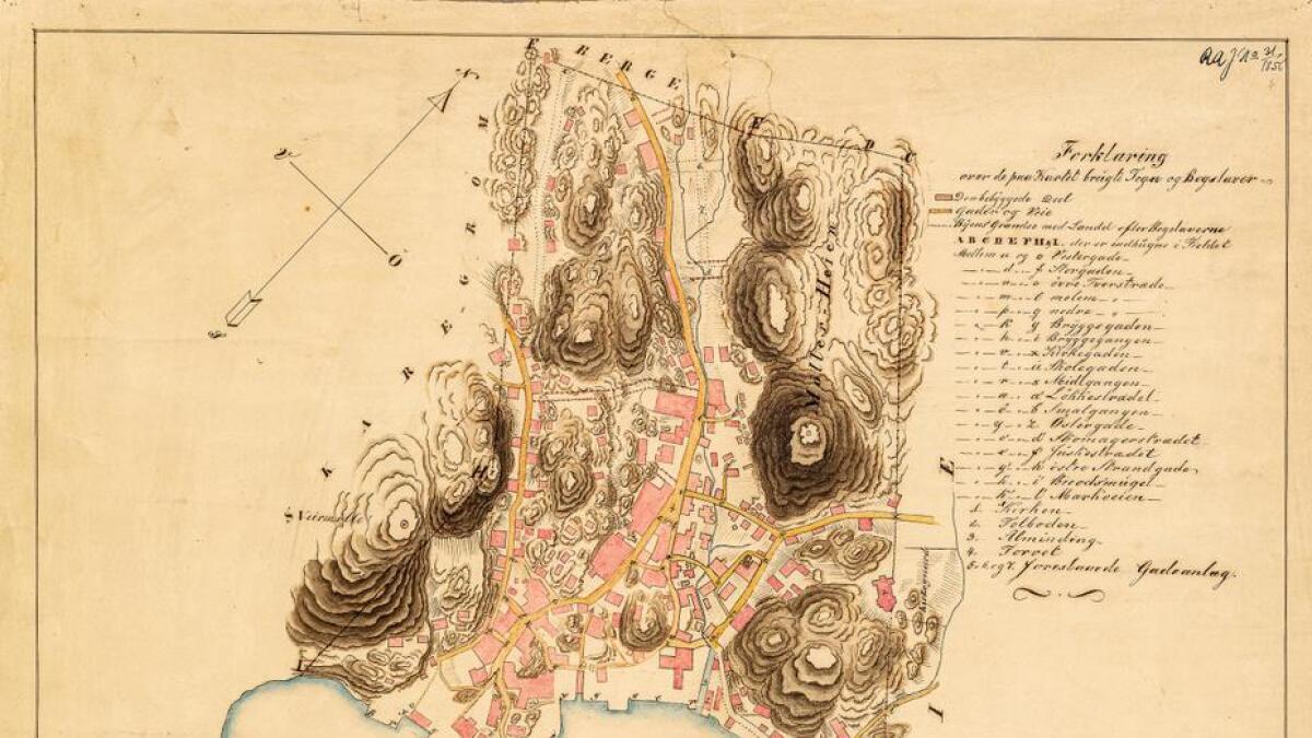 Dette er det første bykartet over Grimstad. Det ble tegnet i 1847 av Jens Thue.
