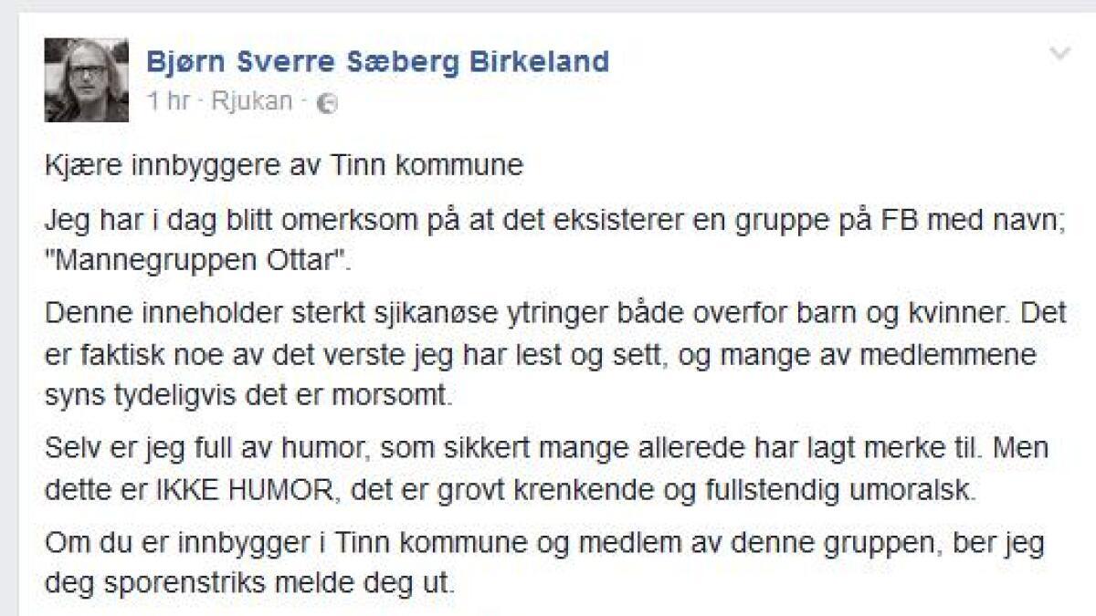 Her er meldingen Tinn-ordføreren postet på Facebook.