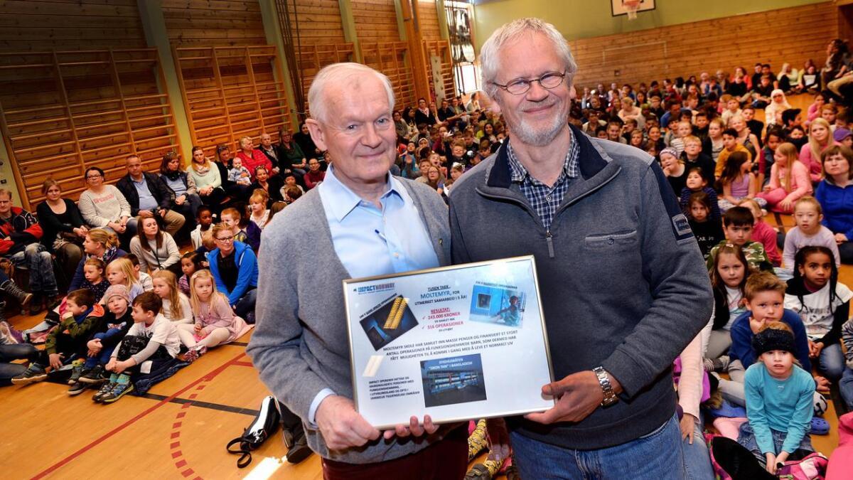 Et flott diplom til hele skolen ble tatt imot av rektor Egil Mjåvatn (t.h.) fra Impacts leder Peter Daae.
