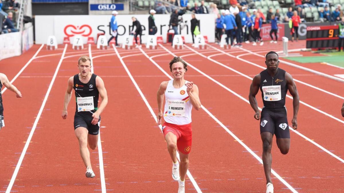 Even Meinseth, her på Bislett tidligere i år, var fornøyd etter sin 100 meter i Napoli mandag.