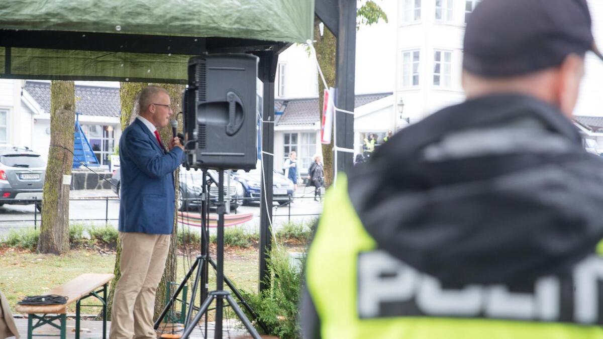 Alliansens partileder Hans Jørgen Lysglimt Johansen under Arendalsuka i fjor. Nå vil partiet forsøke å stille liste i Arendal.