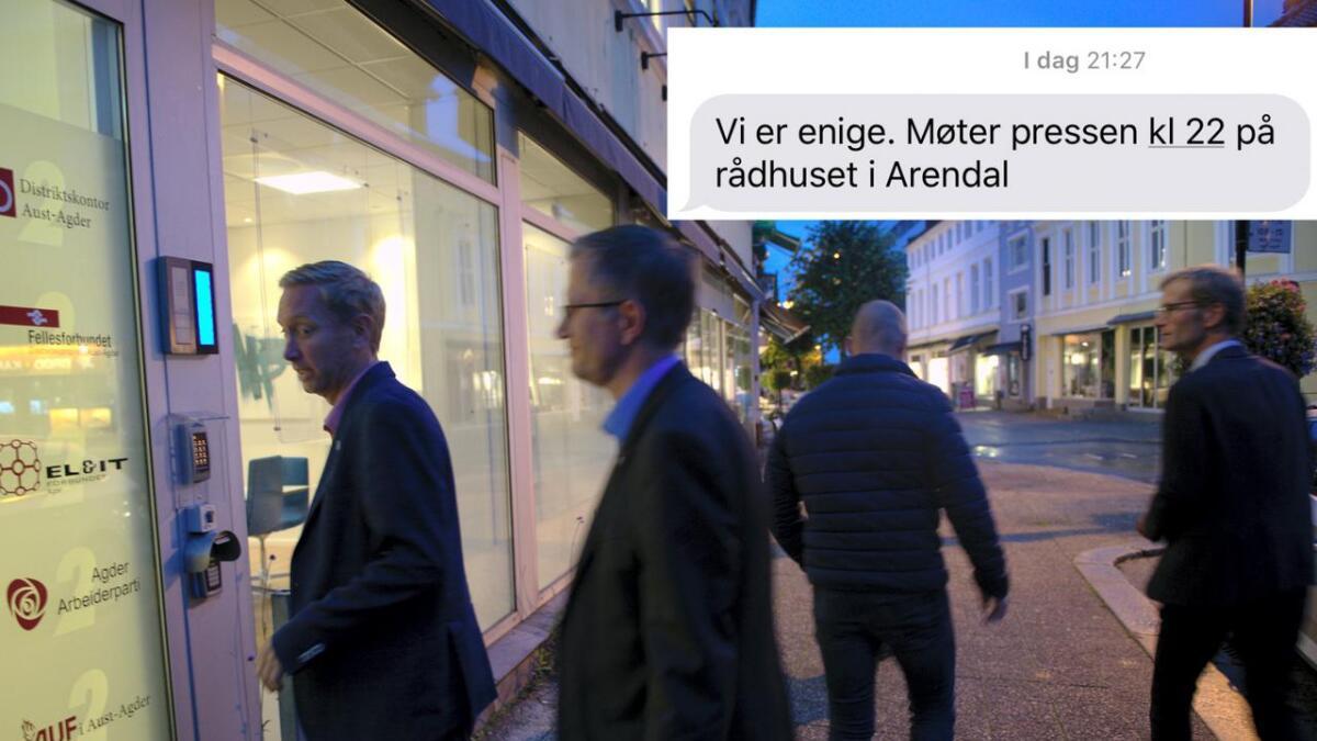 Ordfører Robert C. Nordli (Ap) og varaordfører Terje Eikin (KrF) på vei inn for å fortsette samtalene tidligere i uka. Innfelt Nordlis ferske tekstmelding.
