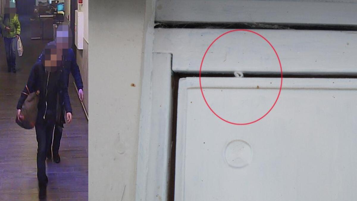 Lappen i dørkarmen (innfelt) ble lagt der av disse omreisende litauiske kriminelle for å se hvilke hus som sto tomme. Har er to av dem fotografert av overvåkingskamera da de ankom Torp. Dette var den tredje mest leste saken i 2015.