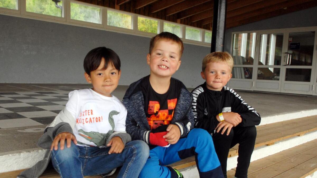 – Ikke legg ned skolen vår! Da må vi gå på Strand, og det vil vi ikke. Alle vennene våre er her, sier Aksel Haugstvedt (f.v.), Lukas Larssen Johansen og Tobias Pedersen, som alle begynner i 2. klasse på Sigerfjord skole på mandag.