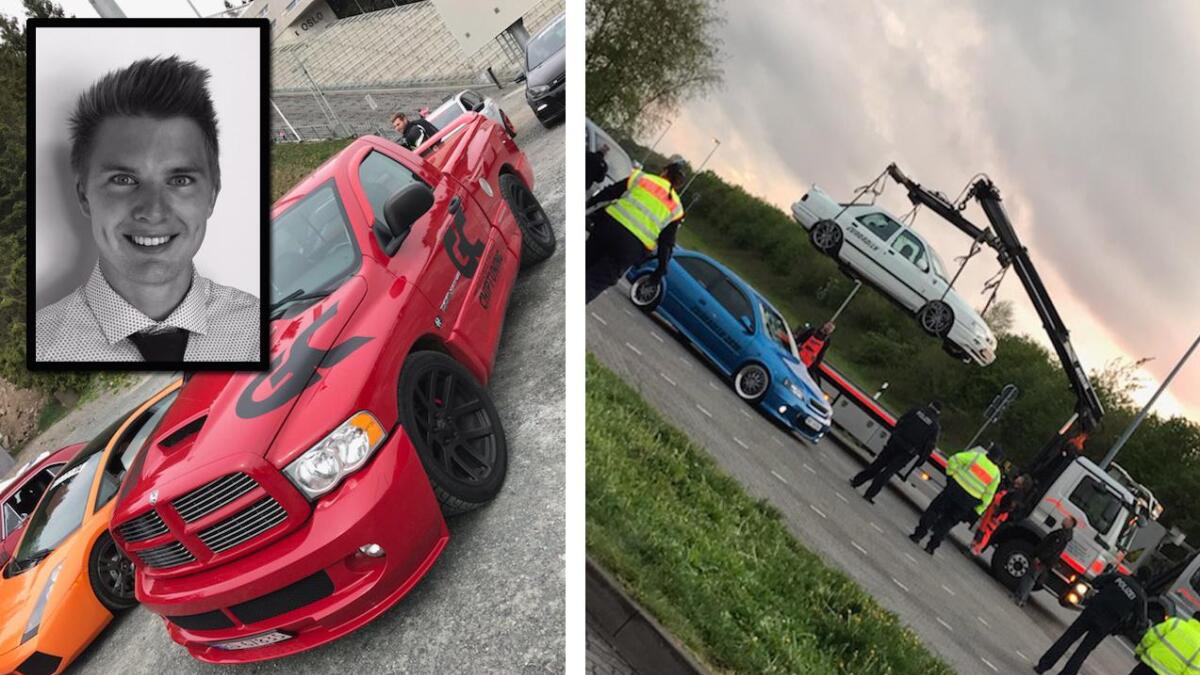 Vel 120 norske deltakere i dels svært raske biler ble stoppet i Tyskland. Marius fra Lillesand deltok i Dodge-n til venstre.