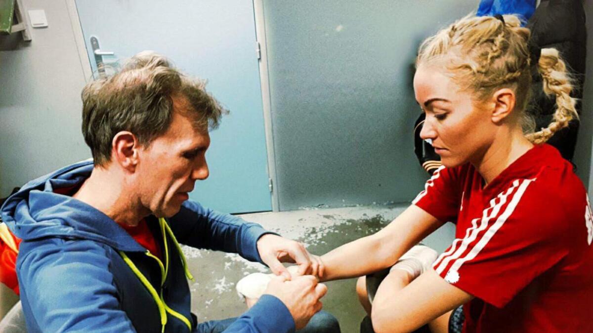 Madelen Søfteland og hennes trener Didier Le Borgne gleder seg til november. Da blir det endelig tittelkamp.                Arkiv