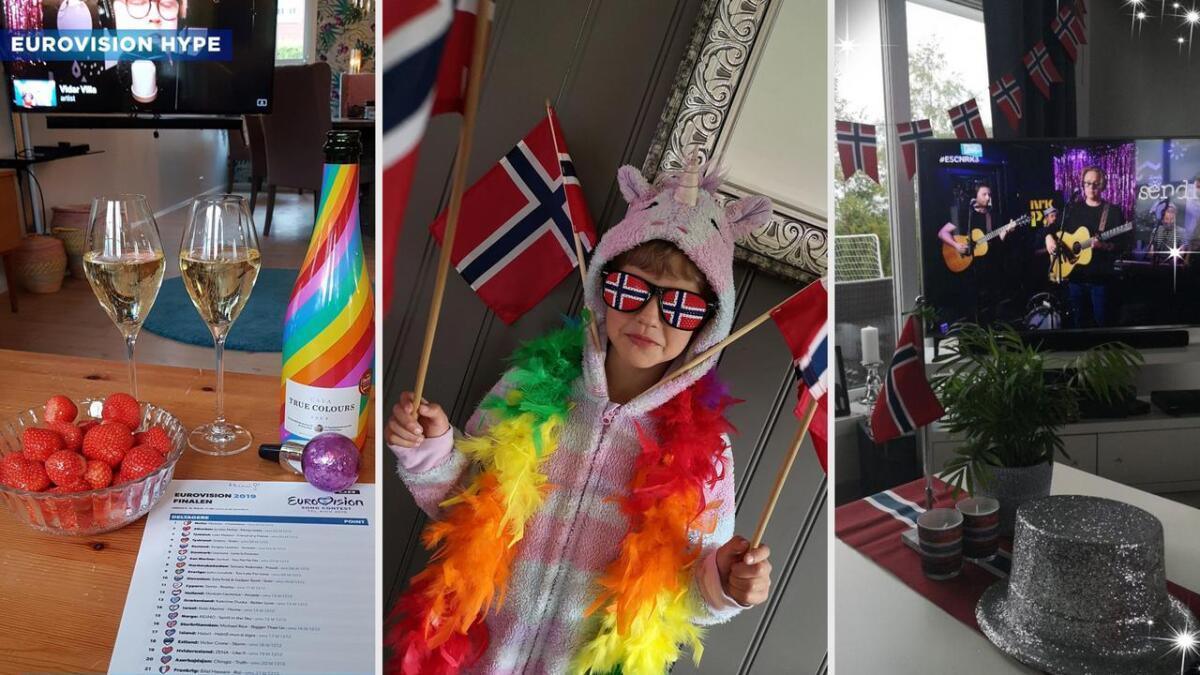 Flere Agderposten-lesere har sendt inn bilder fra sine Eurovision-fester. F.v. Hanne Elisabeth Borg, Emelie Langemyr Eriksen, Camilla Alette Jacobsen.