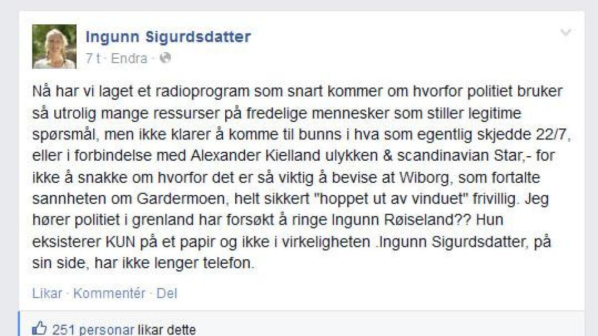 Slik kommenterer Ingrunn Røiseland utkastelsen på sin egen Facebookprofil, under navnet Ingunn Sigrudsdatter.