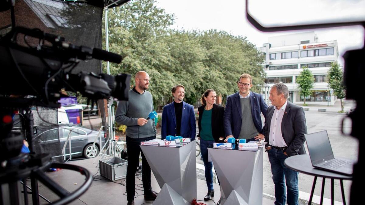 Nokre av kandidatane på Stord under valdebatten på NRK Hordaland for nokre veker sidan.