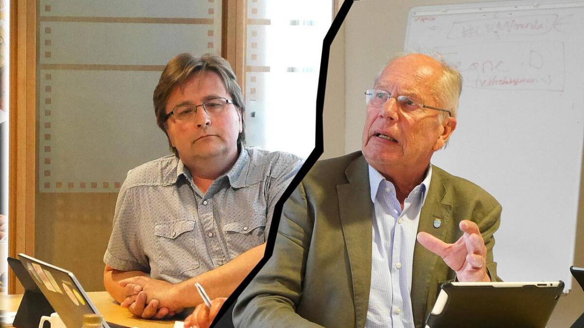 Ordfører Einar Halvorsen (H) gikk rett i strupen på Frp og Torbjørn Nilsen (til venstre).
