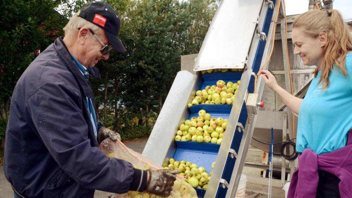 Benn Smith har i alle år reist til Østerhus med eplene sine, og i år var intet unntak. – Det er alltid hyggelig å komme til Grimstad, sier han.