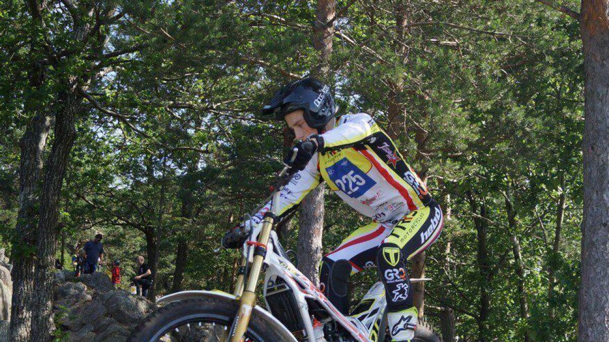 Jarand-Matias trosset smerter da han kjørte inn til P18 forrige helg i Belgia.privat