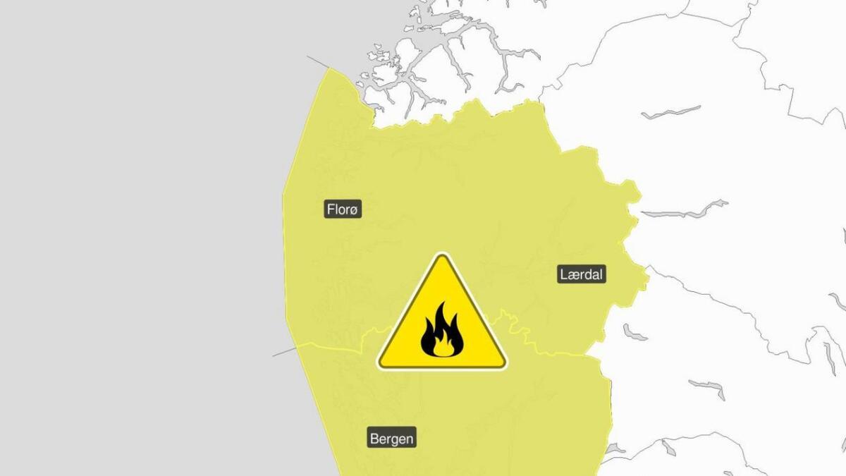 Det er lokal brannfare i Hordaland og Sogn og Fjordane.