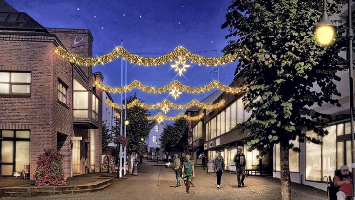 Slik er planen at Borggata skal sjå ut i julemånadene.