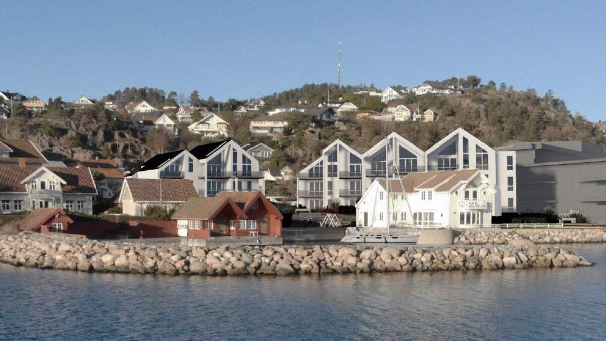 Fevikpynten får i motsetning til Blom Bakkke-brygge leilighetsbygg med saltak. Blom Bakkke-brygge er her tegnet inn i grått til høyre.