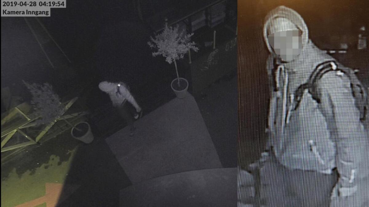 På bildet til høyre titter tabbetyven rett inn i overvåkingskameraet på fiskebrygga. Til venstre er han på restaurant Sjøbua samme kveld.