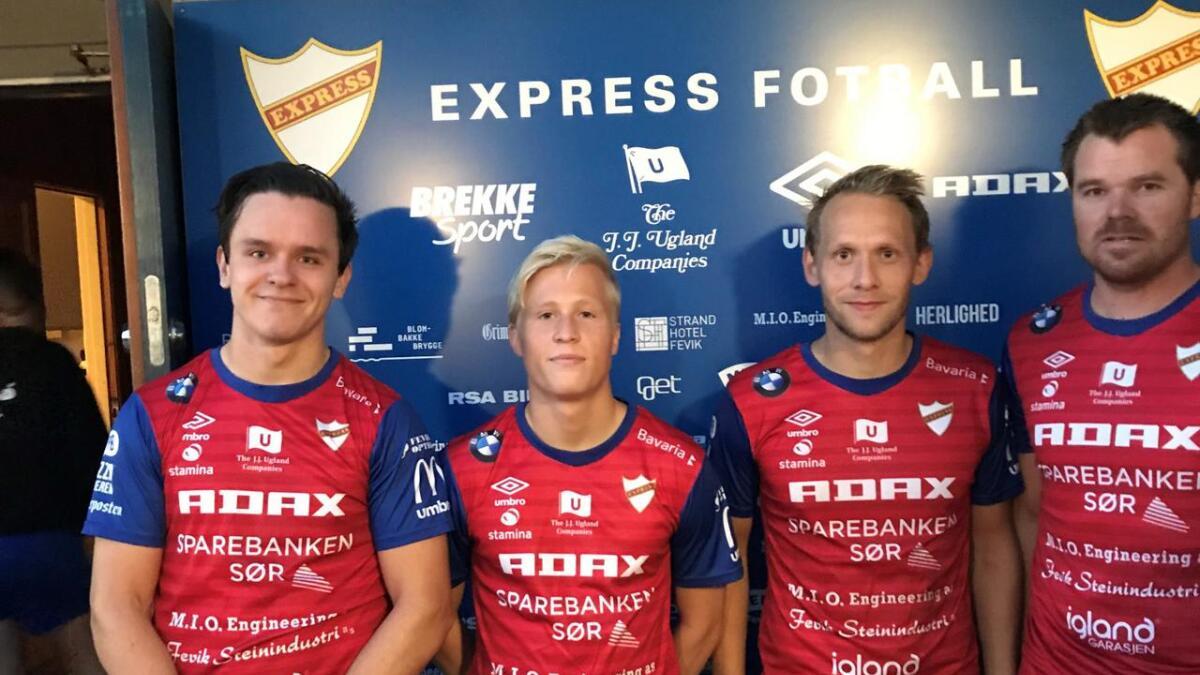 Andreas Meberg (til venstre), Even Larsen, Tobias Olsvik og Vegard Ramse scoret målene da Express banket Randesund 4-0 på Fevik stadion torsdag.