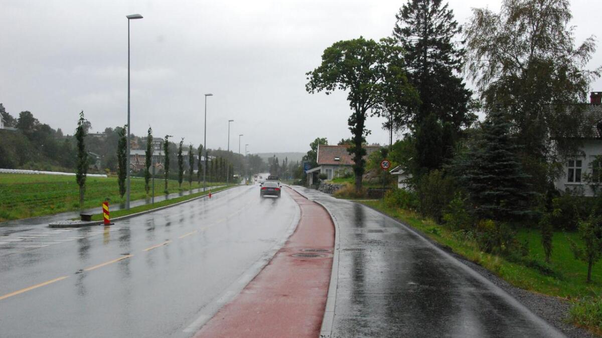 For tredje gang på to år har det blitt asfaltert på Biesletta. Denne gang ble det lagt rød asfalt for å markere sykkelfeltet i veien tydeligere.