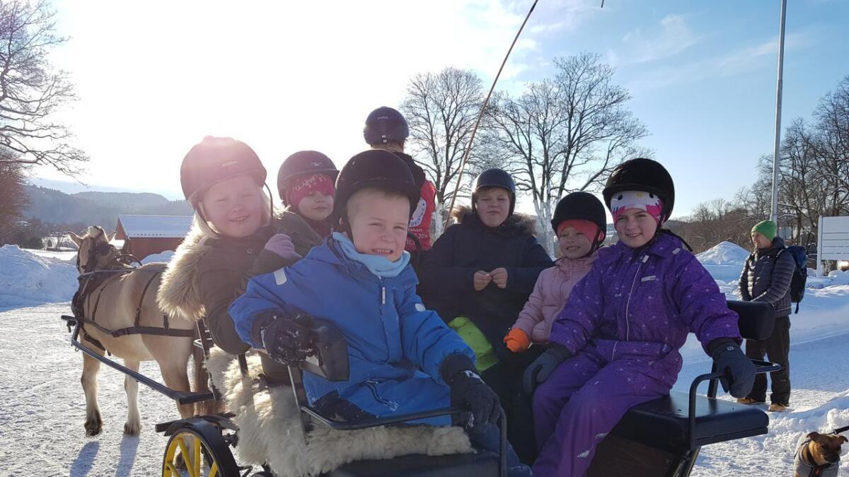I Nome fikk barna sitte i kjerra bak hesten.