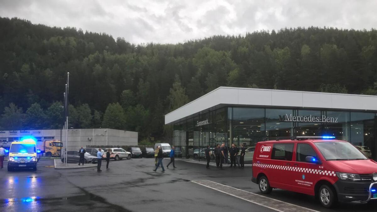 Det brant i verkstedhallen til Funnemark på Notodden onsdag.