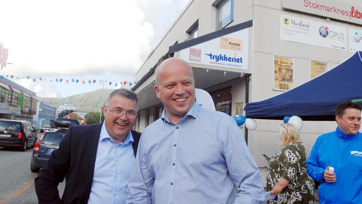 Olje- og energiminister Kjell-Børge Freiberg (Frp) og Senterparti-leder Trygve Slagsvold Vedum.
