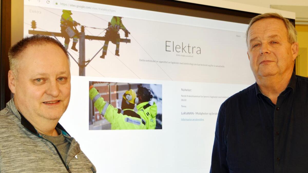 Hans Gunnar Hansen og Frode Holdhus fra Nordland fagskole, elektro, på Melbu går i front for et nytt samarbeid mellom fagskoler over hele landet.