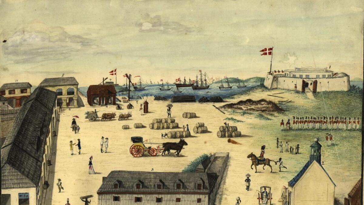 Prospekt av Christiansted, hovedstaden på St. Croix. Tegnet av Henrik Beenfeldt ca. 1815