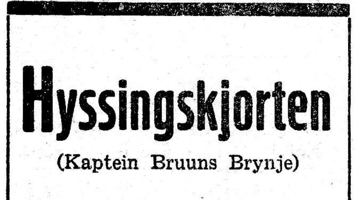 Annonse for hyssing-skjorta frå Mehrens Herre-ekvipering i Lørdagsavisen 1936.